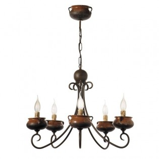 Rustic Artisan Chandelier Pots (5 lights)
