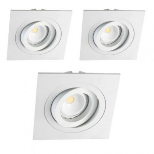 Kit 3 LED Recessed Spotlights squared white