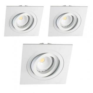Kit 3 LED Recessed Spotlights squared white
