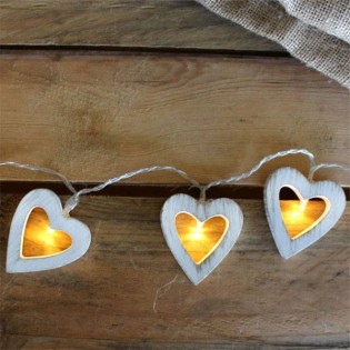 String lights Rustic Led heart 10 lights