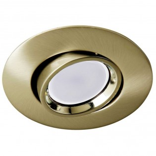 Recessed Downlight round aged gold + 8W LED neutral Bulb