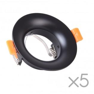 Pack 5 Recessed lights Basic II Round (black)