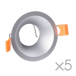 Pack 5 Recessed lights Confort Round (silver)