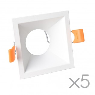 Pack 5 Recessed lights Confort Squared (white)