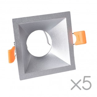 Pack 5 Recessed lights Confort Squared (silver)