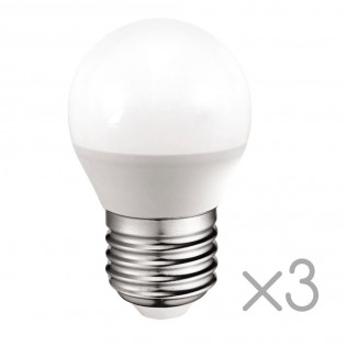 Pack 3 spherical Bulbs LED E27 5.2W (Neutral light)