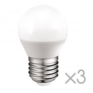 Pack 3 spherical Bulbs LED E27 5.2W (Cold light)