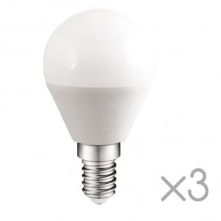 Pack 3 spherical Bulbs LED E14 5.2W (Cold light)