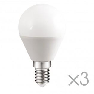 Pack 3 spherical Bulbs LED E14 5.2W (Cold light)
