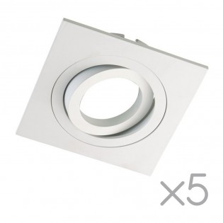 Pack 5 Square recessed spotlights CLASSIC white