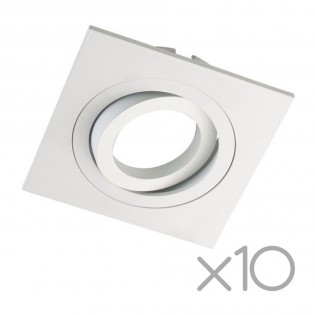 Pack 10 Square recessed spotlights CLASSIC white