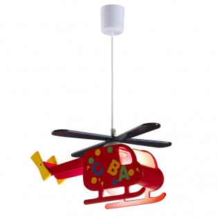 Children's Hanging Lamp Helicopter Red