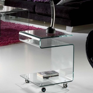 Side Table with wheels Glass