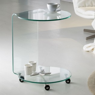 Side Table with wheels Glass II