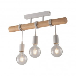 Natural Wood Effect 3 Light Ceiling Bar Pendant