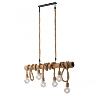 Wood Bar Pendant Light Rope (6 Lights)