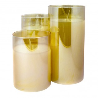 3 Pack Decorative Candles with light (Golden)