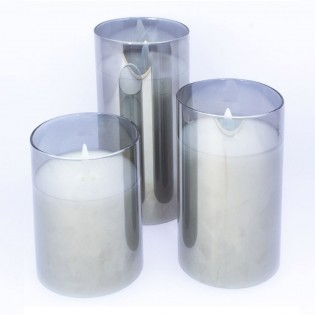 3 Pack Decorative Candles with light (Silver)