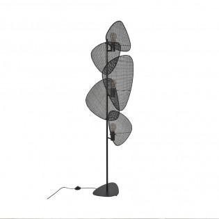 Floor Lamp Screen Cannage Noir