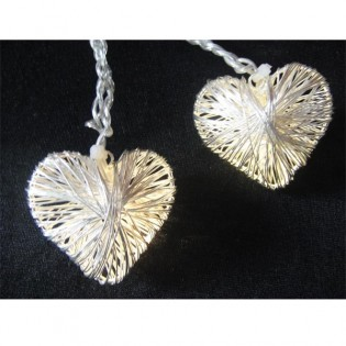 String lights 10 hearts led silver