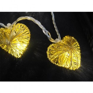 String lights 10 hearts led gold